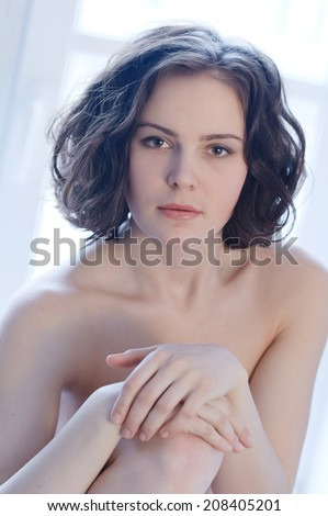 Portrait of young beatiful naked woman - stock photo