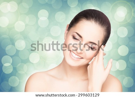 Portrait of young, beautiful and healthy girl. Perfect skin spring concept. - stock photo
