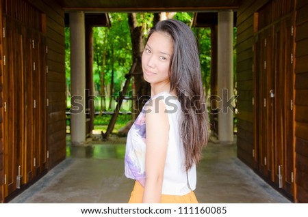 portrait of young beautiful Asian woman