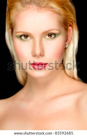 Portrait of young beautiful blond hair girl. Retouched