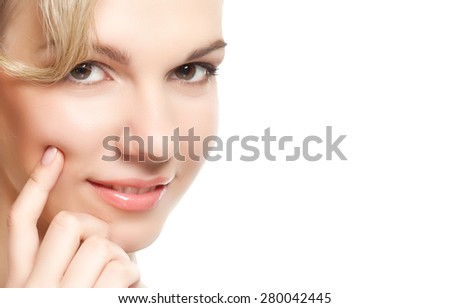 Portrait of young beautiful blond woman. Studio shot. Isolated on white background - stock photo
