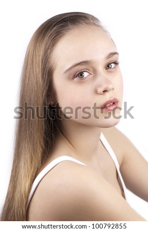 Portrait of young beautiful blonde woman isolated on a white background - stock photo