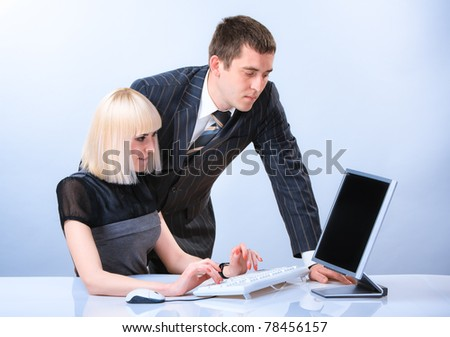 Portrait of young beautiful business person at work - stock photo