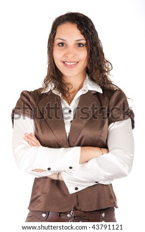portrait of young beautiful business woman over white
