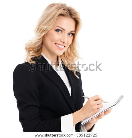 Portrait of young beautiful businesswoman with clipboard writing, isolated against white background - stock photo