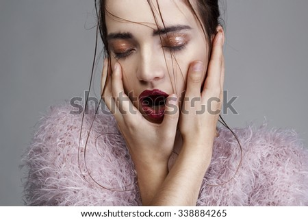 Portrait of young beautiful fashion girl - stock photo