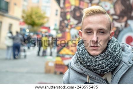 Portrait of young beautiful fashionable man. - stock photo