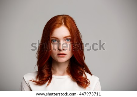 portrait young beautiful ginger girl over stock photo (royalty free