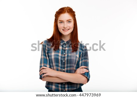 Portrait of young beautiful ginger girl over white background. - stock photo