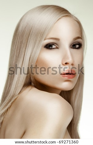 portrait of young beautiful girl face. perfect skin - stock photo
