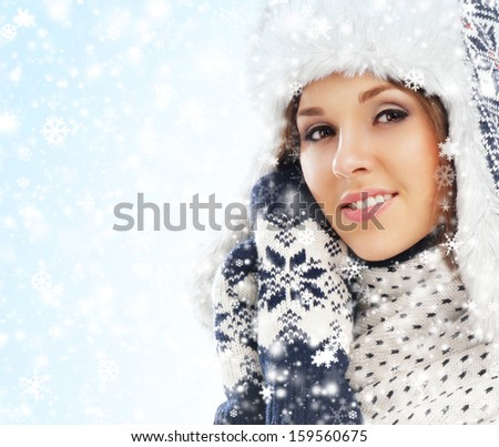 Portrait of young beautiful girl in native scandinavian clothes - stock photo