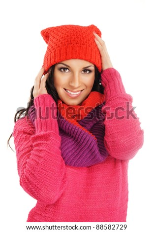 Portrait of young beautiful girl in winter style isolated on white - stock photo