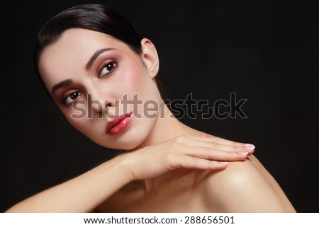 Portrait of young beautiful healthy woman with stylish make-up  - stock photo