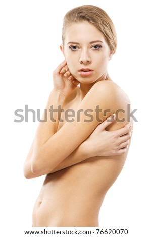 Portrait of young beautiful model over white background