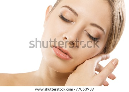 Portrait of young beautiful model over white background - stock photo
