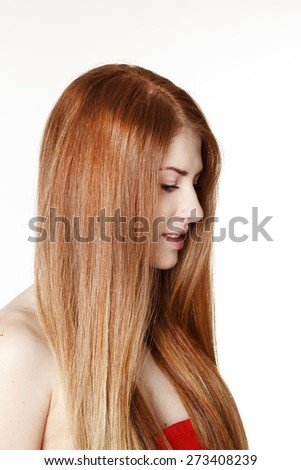 Portrait of young beautiful redhead woman - stock photo