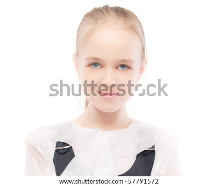 Portrait of young beautiful schoolgirl, isolated on white background.