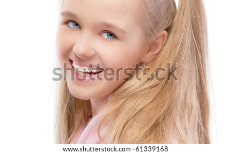 Portrait of young beautiful schoolgirl, isolated on white background. - stock photo