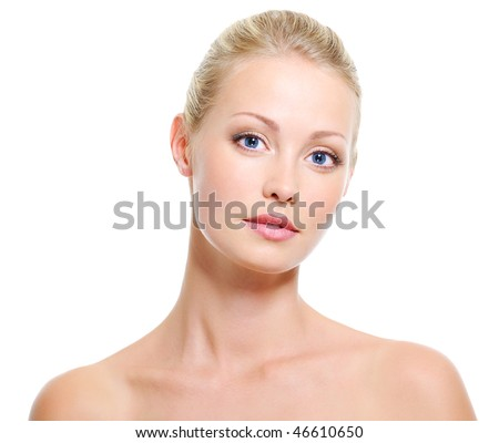 Portrait of young beautiful serene woman with healthy skin and beauty blue eyes - stock photo