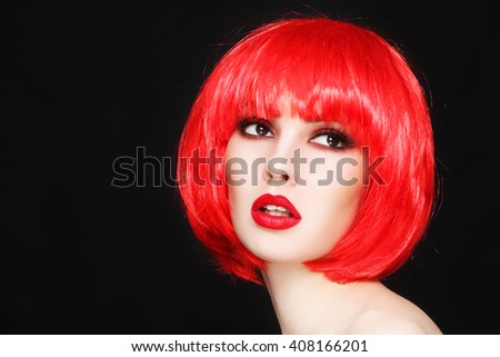 Portrait of young beautiful sexy girl with stylish make-up and fancy bob style red wig - stock photo