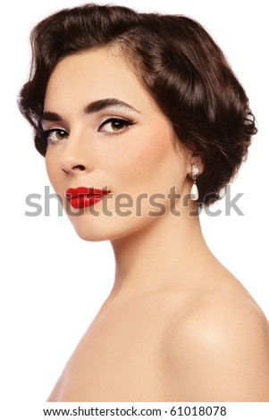 Portrait of young beautiful sexy woman with glamorous make-up and hairstyle, on white background