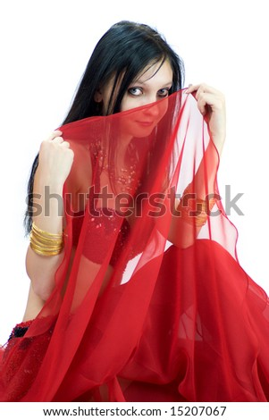 Portrait of Young beautiful shy Belly Dancer - stock photo