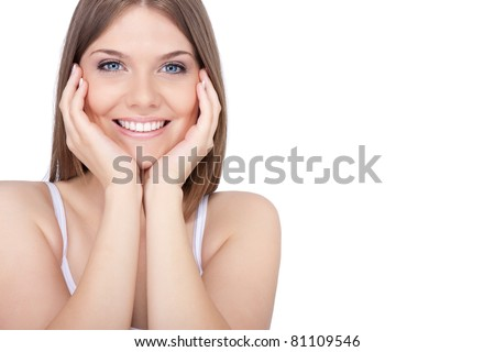 portrait of young beautiful spa woman, smiling and looking at camera, isolated on white background - stock photo