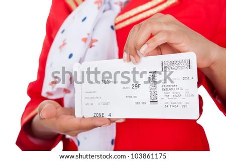 Portrait of young beautiful stewardess. Isolated on white - stock photo