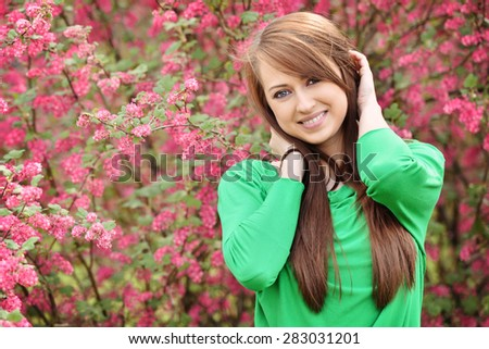 Portrait of young beautiful woman - stock photo