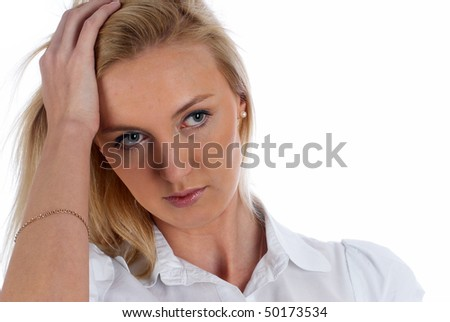 Portrait of young beautiful woman having headache pains