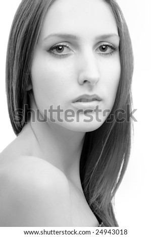 Portrait of young beautiful woman  - isolated on white