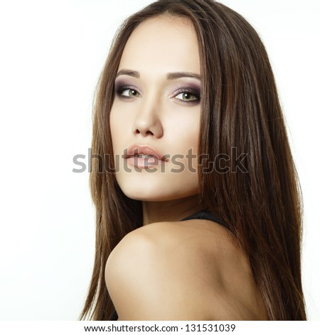portrait of young beautiful woman, isolated on white background