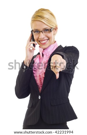 portrait of young beautiful woman on mobile phone pointing to you