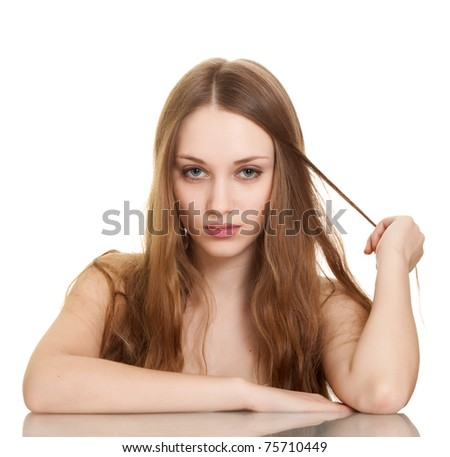 portrait of young beautiful woman on white background - stock photo