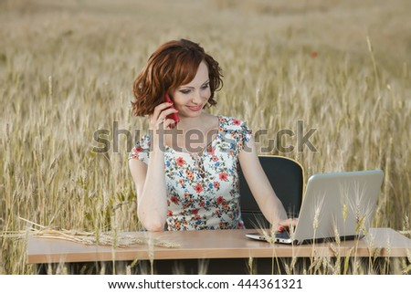 Portrait of young beautiful woman speaking on phone  Attractive woman talking on the phone. - stock photo
