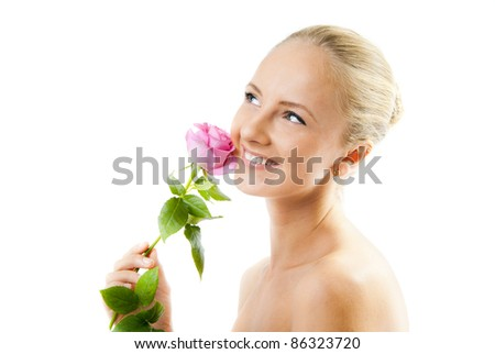 Portrait of young beautiful woman with a rose, isolated - stock photo