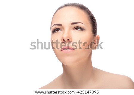 portrait of young beautiful woman with brown eyes isolated on a white background. everyday makeup