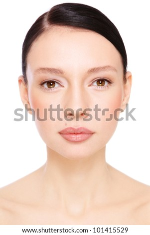 Portrait of young beautiful woman with clear make-up over white background - stock photo