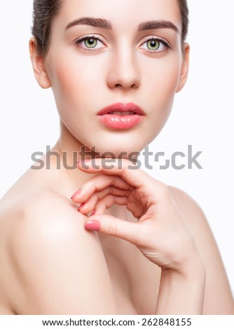 Portrait of young beautiful woman with day makeup and  green pistachio colour eyes - stock photo