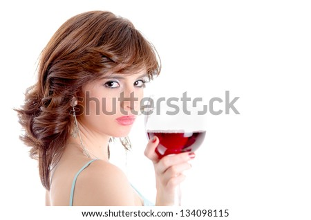 Portrait of young beautiful woman with glass of red wine - stock photo