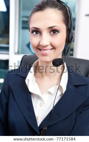 portrait of young beautiful woman with headphone - stock photo