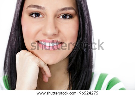 Portrait of young beautiful woman with perfect,  healthy ,white teeth smiling - stock photo