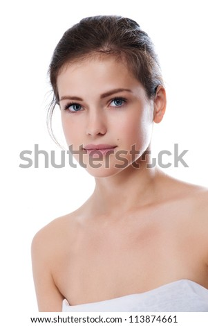 Portrait of young beautiful woman with perfect skin - stock photo