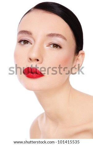Portrait of young beautiful woman with red lipstick over white background - stock photo