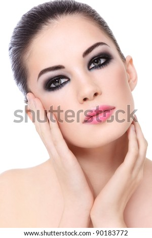 Portrait of young beautiful woman with stylish make-up over white background - stock photo