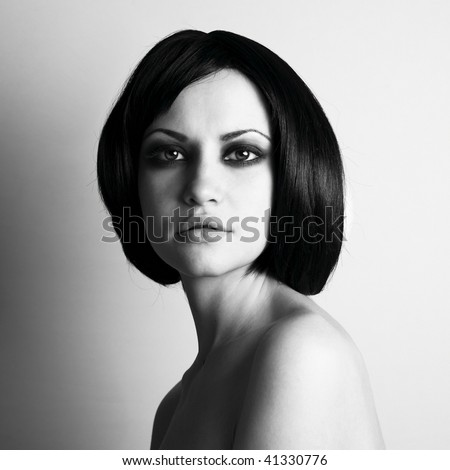 Portrait of young beautiful wooman. studio photography. - stock photo
