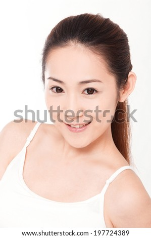 Portrait of young beauty clean female face on white