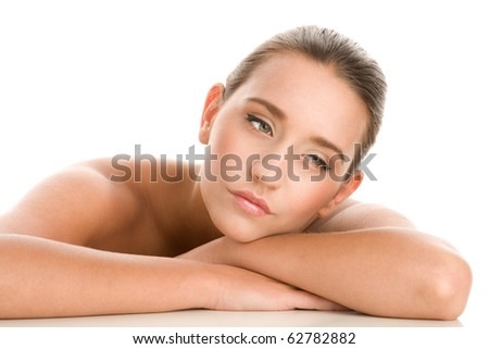 Portrait of young beauty woman looking away - stock photo