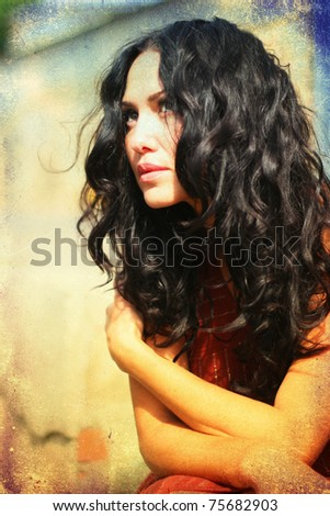 portrait of young beauty woman with curly hairs - stock photo