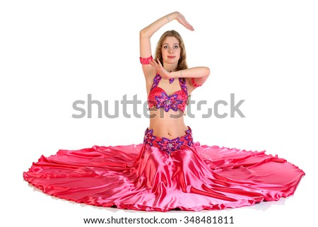 portrait of young Belly Dancer girl  on white